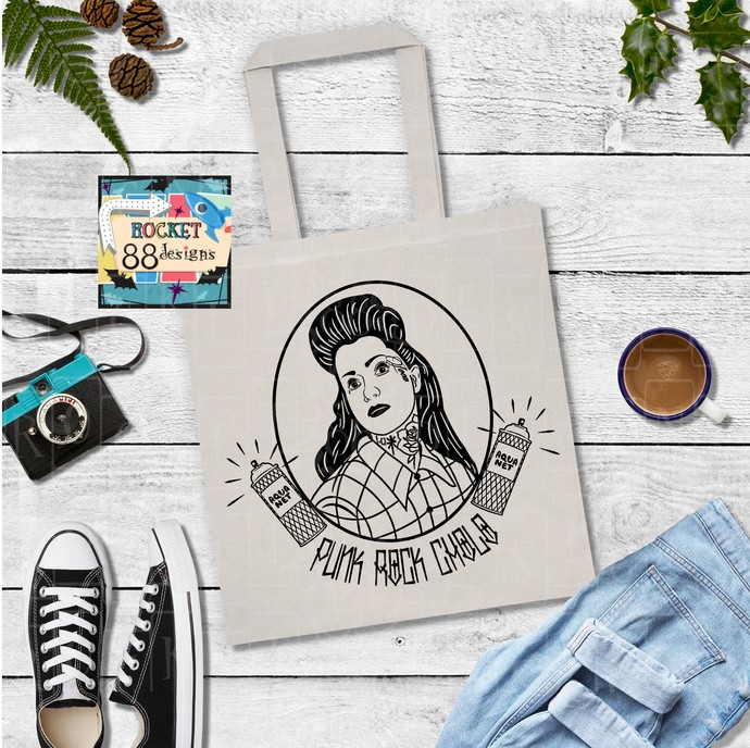 Punk Rock Cholo Back Yard Boogie Black or Natural Cotton Canvas Tote Bag