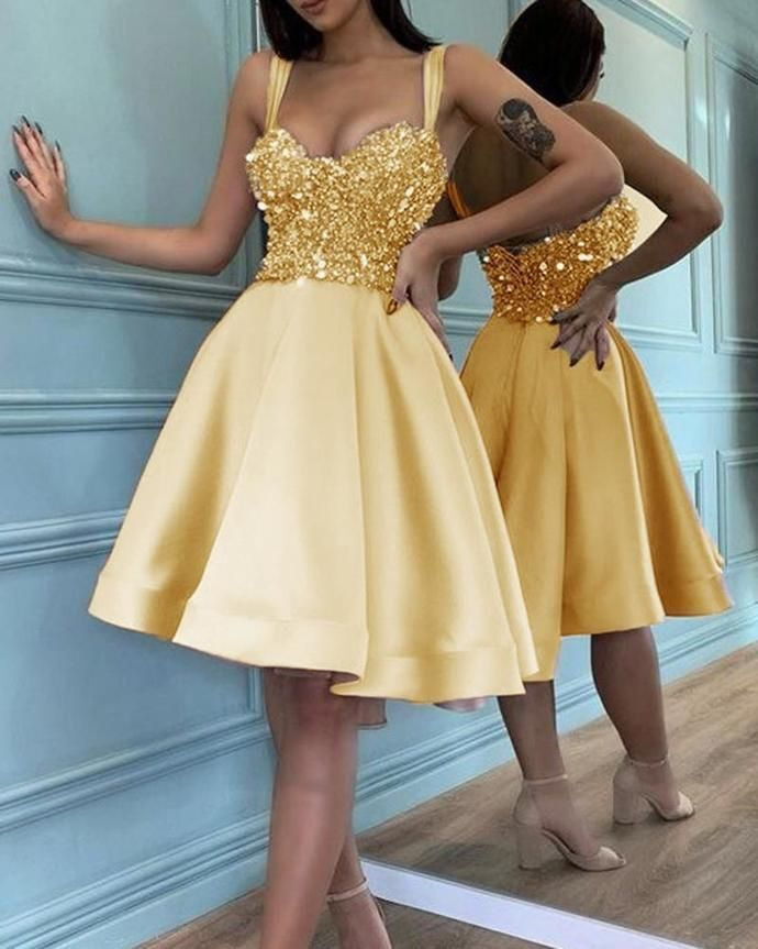 Homecoming Dresses Spaghetti Straps Beaded Prom Dresses H4285