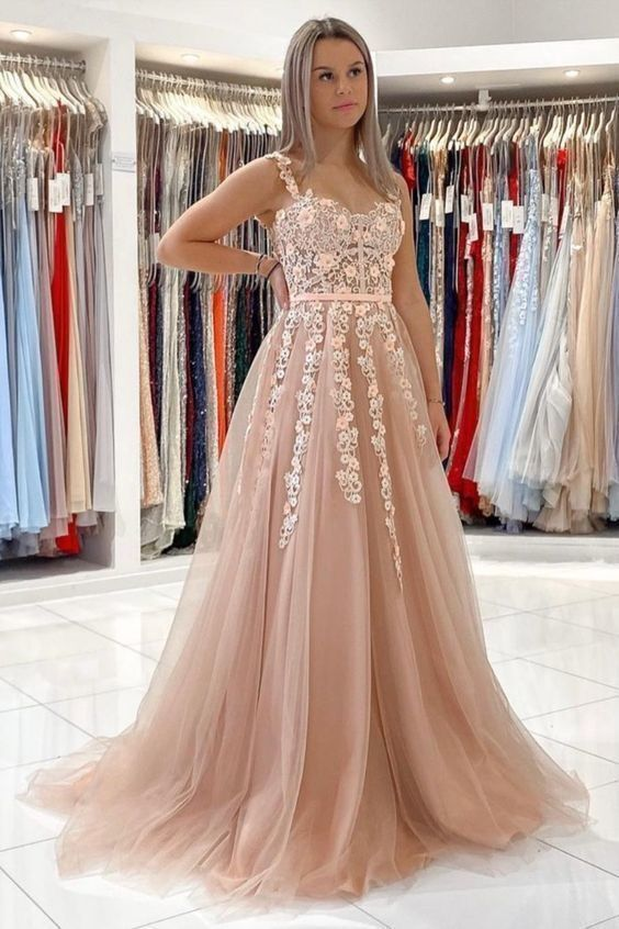 Elegant A Line Appliques Long Prom Dresses Formal Evening Gowns for Women H4287