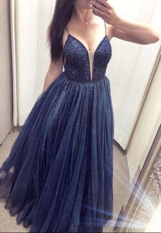 Fashion V neck Spaghetti Navy Formal Prom Dresses, Evening Gown H4292