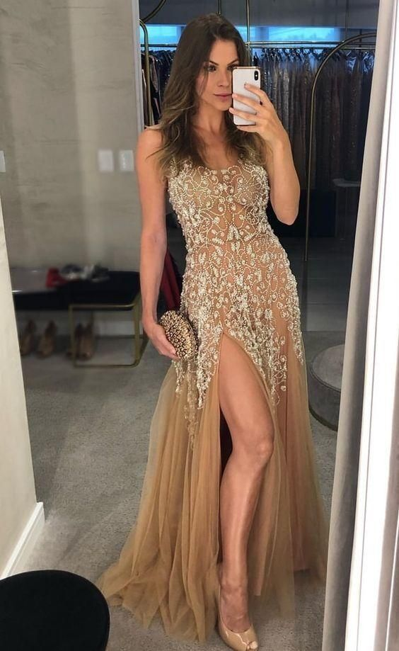 Gorgeous Split Slit Beaded Prom Dresses Long Evening Party Gowns H4293