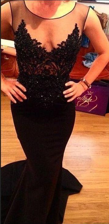 Charming Black Mermaid Evening Dresses Beaded Long Prom Dresses H4295