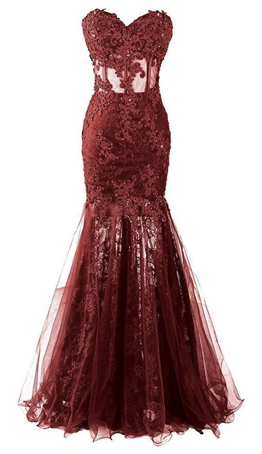 Mermaid Evening Dresses Burgundy Appliques Formal Long Prom Dresses H4296