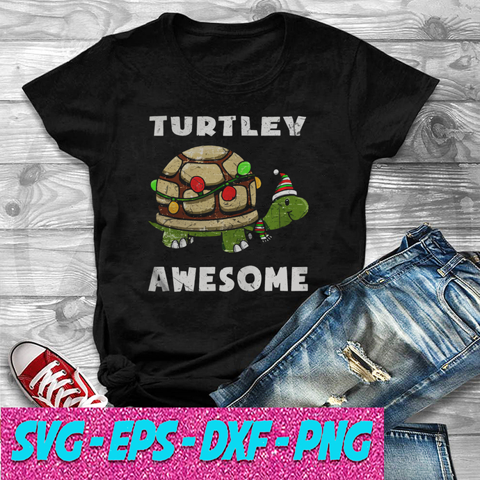 Turtley awesome christmas SVG , EPS , DXF , PNG DIGITAL DOWNLOAD
