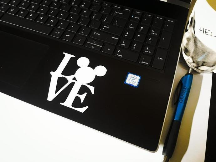 Love Mickey Mouse Decal, Window Decal Sticker, Laptop Sticker