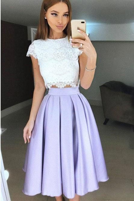 Vintage 2 Piece Lace Prom Dresses Short Homecoming Dresses H4901