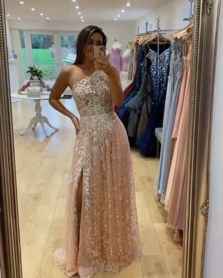 One Shoulder Long Prom Dresses Split Slit Evening Gowns H4906