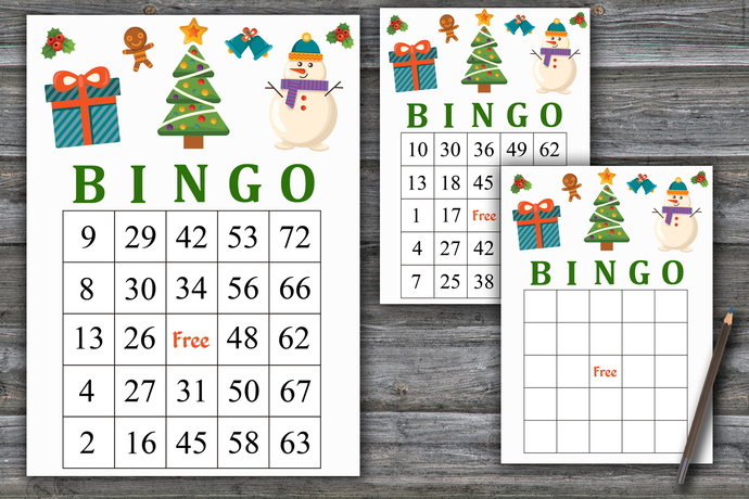Christmas tree bingo game, Snowman bingo card, Christmas gift bingo game,Number