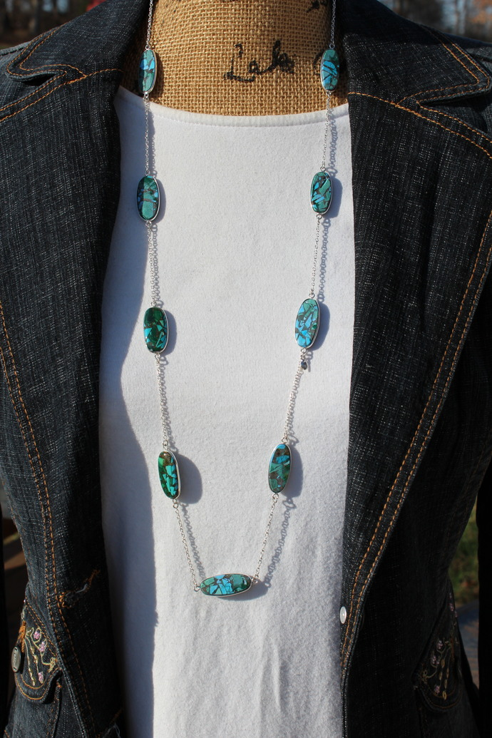 Copper Turquoise, Long Silver Necklace, Gemstone Necklace, Long Boho Necklace,
