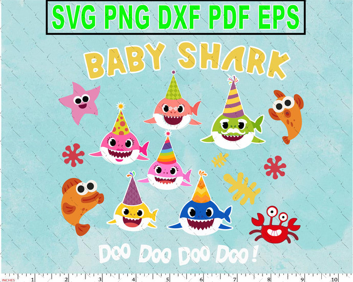 6  Face Birthday Sharks Character SVG layered and images -PNG -dxf files-