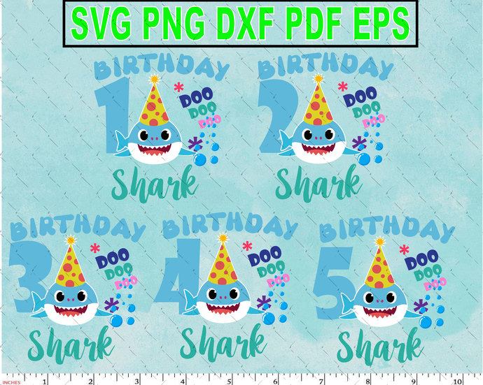 Birthday Boy Sharks Character SVG layered and images -PNG -dxf files-