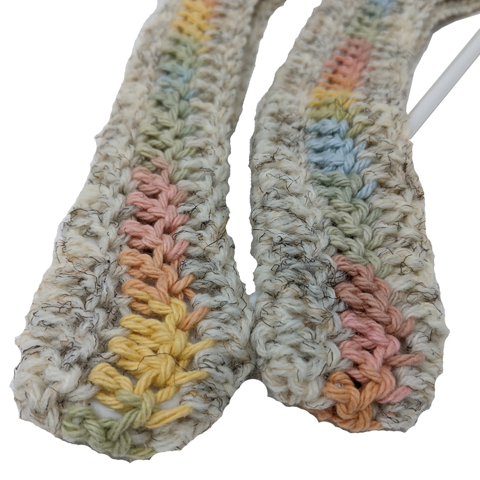 Crocheted Off-white with Pastel Variegated Stripe Coat Hanger Cover Set
