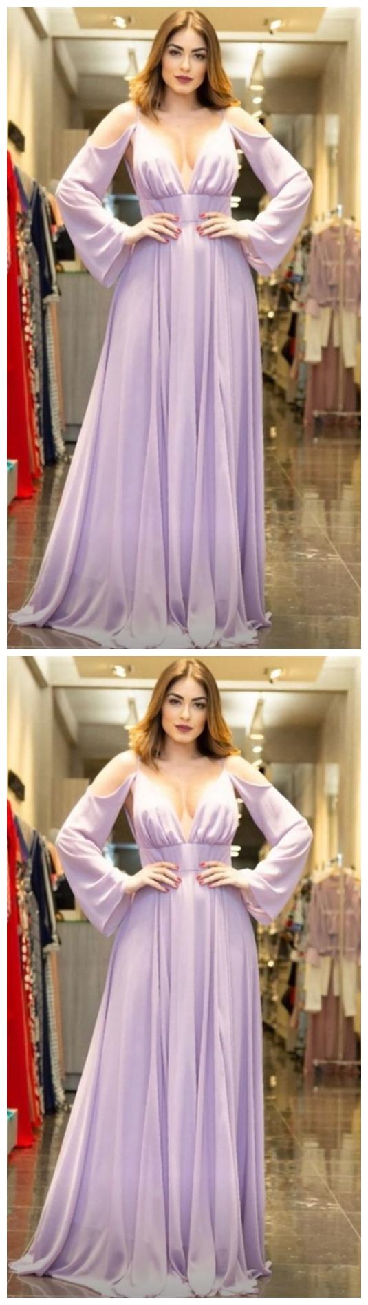 Simple chiffon prom dress ,formal prom dress