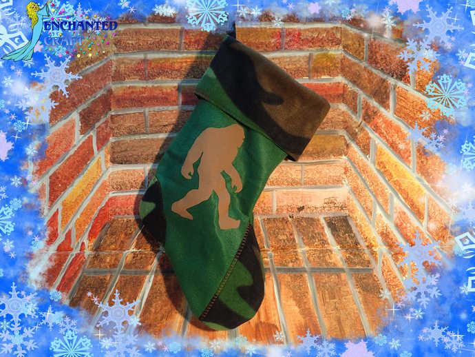 green Bigfoot Christmas Stocking Handmade fleece with #camo cuff Sasquatch