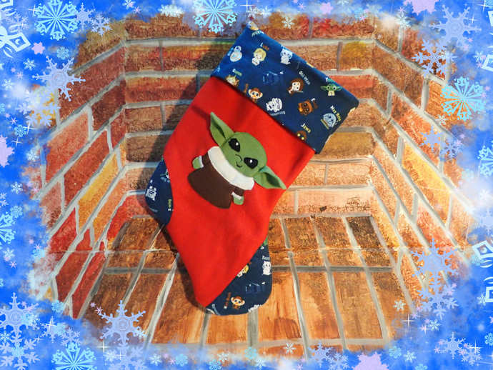 kawaii Baby Yoda Christmas Stocking Handmade fleece and flannel for star wars