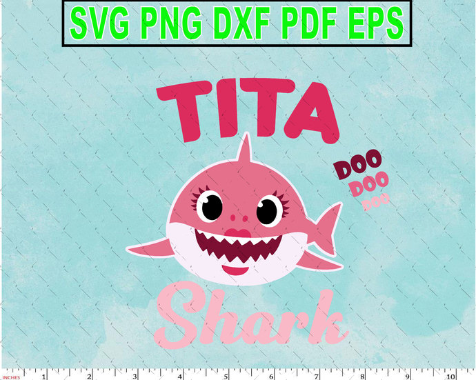 Tita Shark Character SVG layered and images -PNG -dxf files- Silhouettes