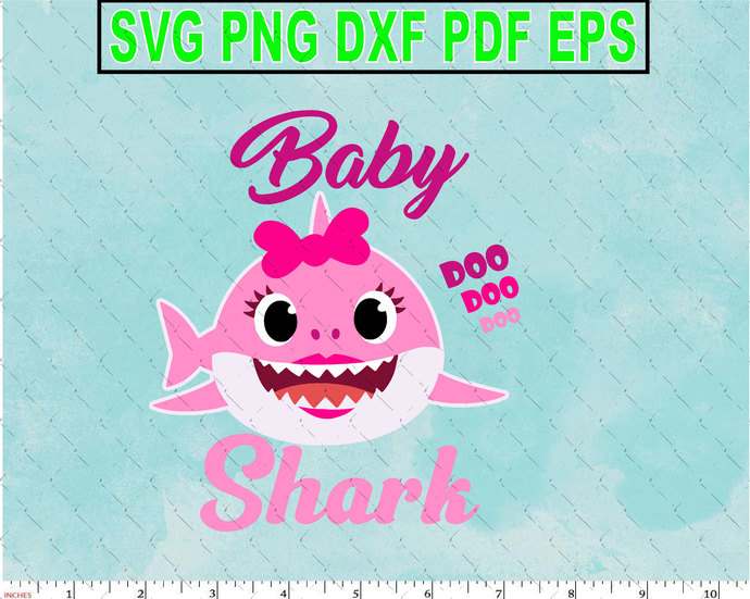 Baby Girl Shark Character SVG layered and images -PNG -dxf files- Silhouettes