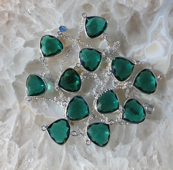 Green Apatite Long Silver Necklace, Gem Necklace, Long Boho Necklace, Jewelry