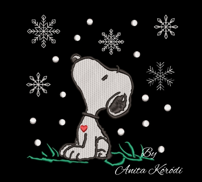 Snoopy embroidery design christmas pes pattern winter