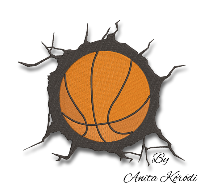 Basketball ball embroidery design pes machine instant digital download