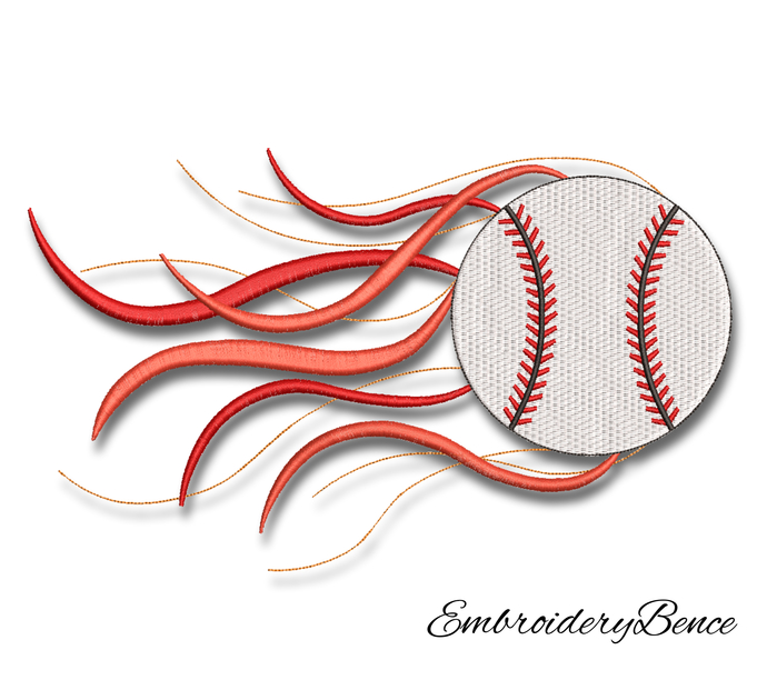 Baseball Ball embroidery designs machine fire effect pes pattern