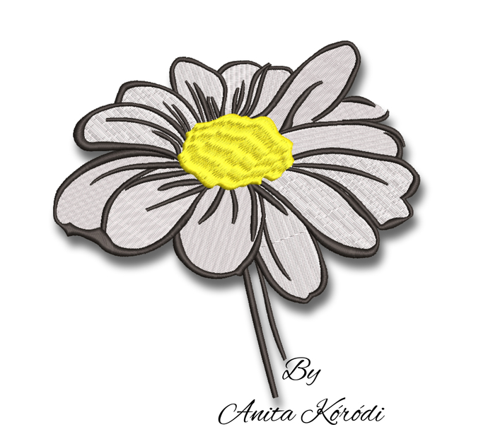 Daisy embroidery machine design flowers pe file digital instant download pattern
