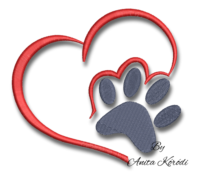 Paw embroidery design machine pes dog cat love heart
