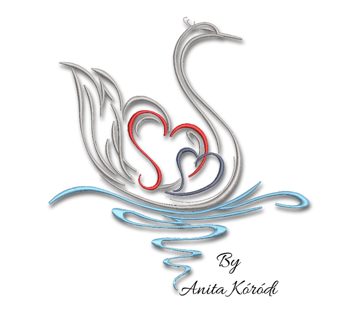 Swan embroidery machine design hearts pes love machine pattern