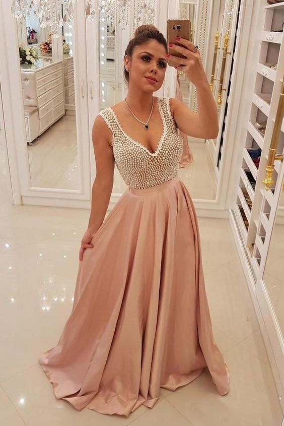 Charming Blush Pink Long Satin Prom Dresses, Unique Pearls Formal Evening Dress