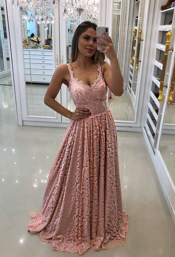 Charming Blush Pink Long Prom Dress With Lace M6568
