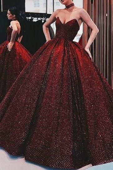 Modest Sequin Prom Dresses, Glamorous Evening Gowns With Sequins M6571
