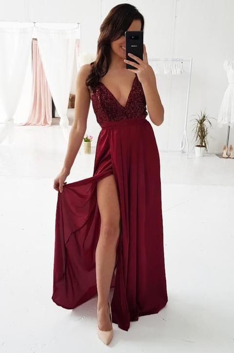 A-line V Neck Long Prom Dresses M6574