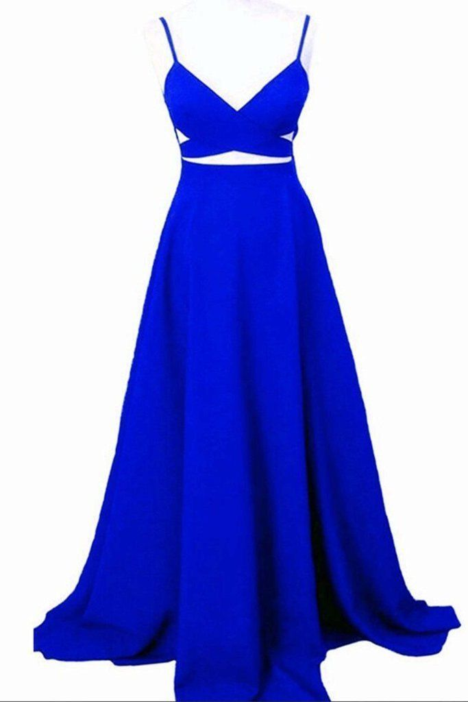 Sexy Sleeveless Royal Blue Prom Dresses Long Evening Gowns H4919