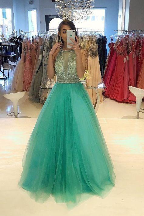 Elegant Tulle Beaded Long Prom Dresses Formal Evening Gowns H4920