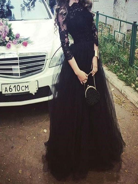 Long Sleeve Appliques Long Prom Dresses Black Evening Gowns H4921
