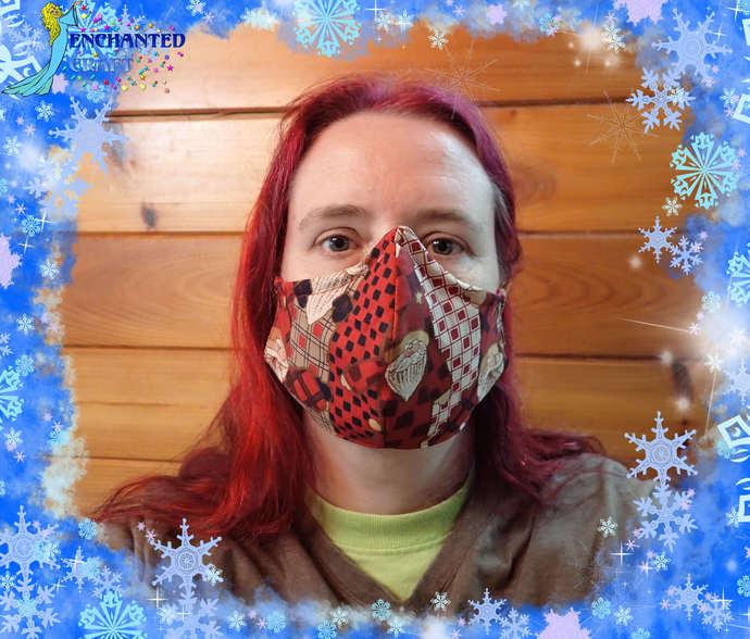 Christmas themed face mask 100% cotton fabric & flannel handmade washable #Santa