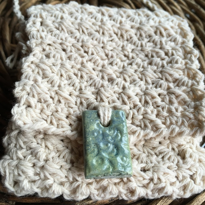 "Handcrafted Spirit Pouch, with a Handmade Button - ""Waterfall"""