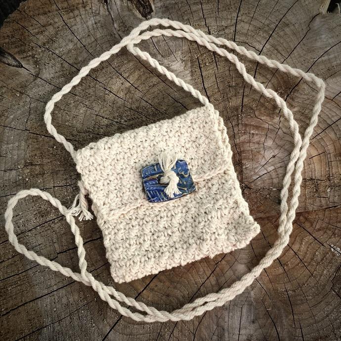 Handmade Spirit Pouch with a Handmade Button - Rhythm