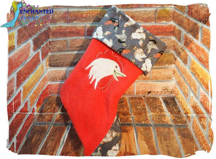 Red CHICKEN Christmas Stocking Handmade fleece and cotton #chicken #chick #hen