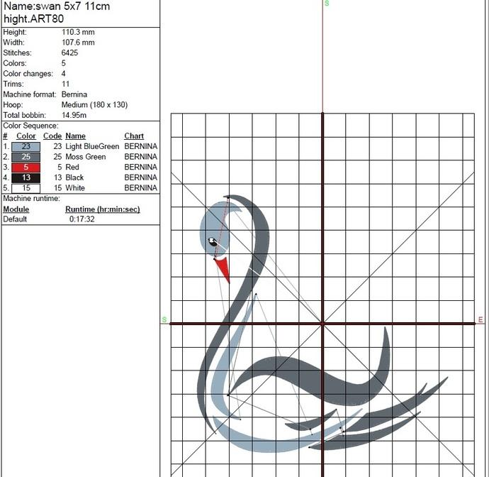 Swan embroidery machine design animal digital pes instant download pattern hoop