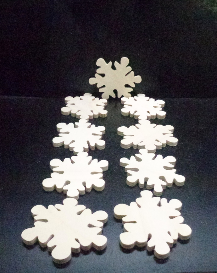 Pkg of 9 Snowflakes Unfinished Wood Cutouts WCO-42-25 Unfinished