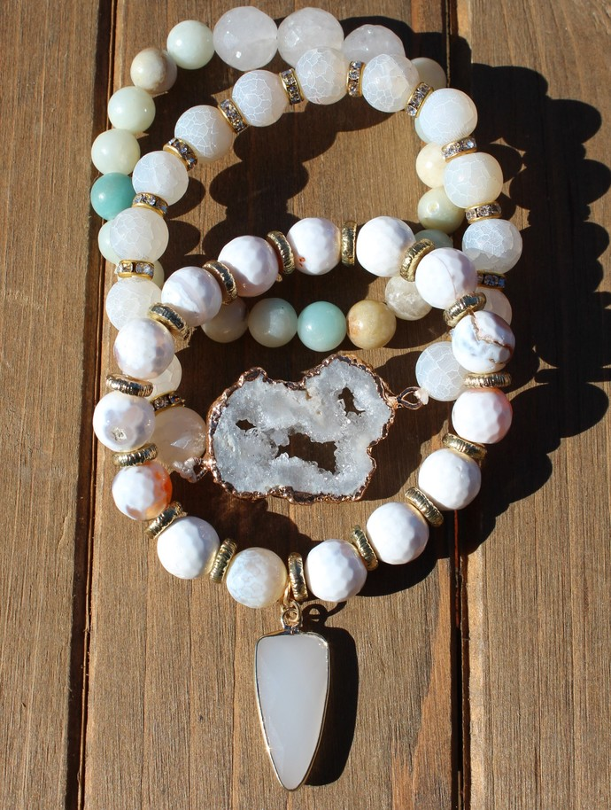 Set of 3 Stacking Bracelets White with Dangles & Druzy by KnottedUp