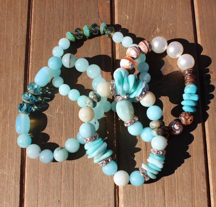 Bohemian Stacking Bracelets, Beaded Bracelets, Aqua blue bracelets, Natural