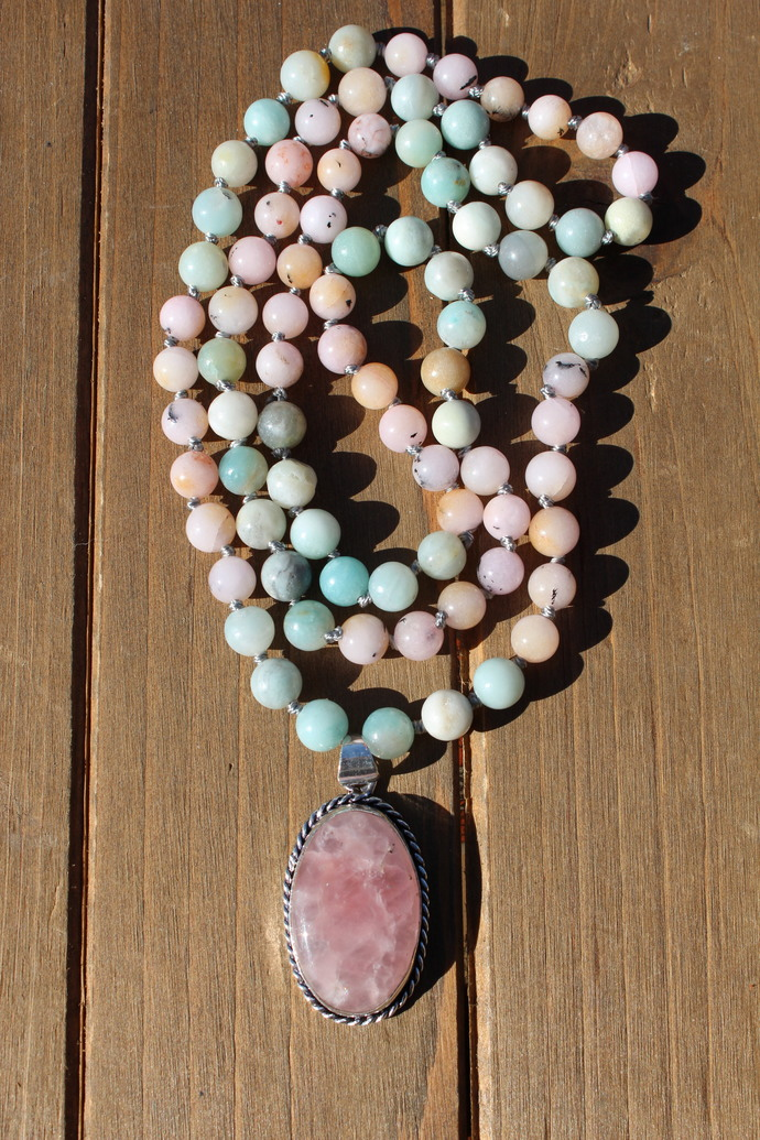 The Love Necklace, Long Beaded Necklace, Pink Rose Quartz Jewelry, Jewelry gifts