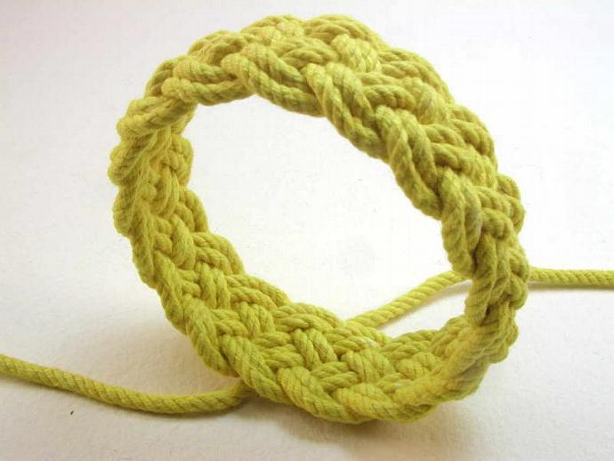 bright yellow knot bracelet adjustable turks head knot bracelet 1740