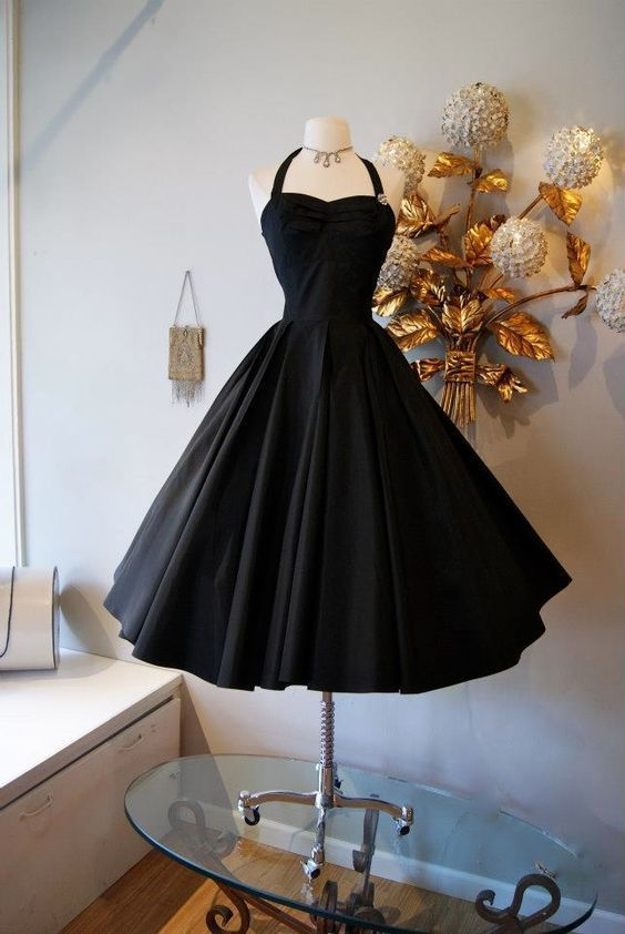 Vintage Black Homecoming Dress, Chic Party Dress M6580