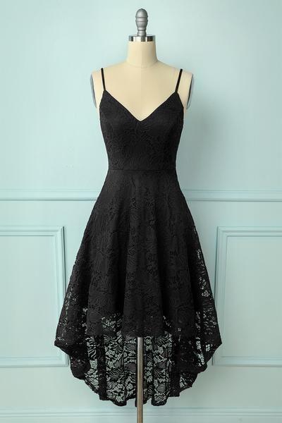 Black V Neck Lace Homecoming Dress M6581