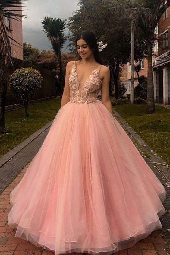 Pink v neck tulle lace applique long prom dress pink formal dress M6582