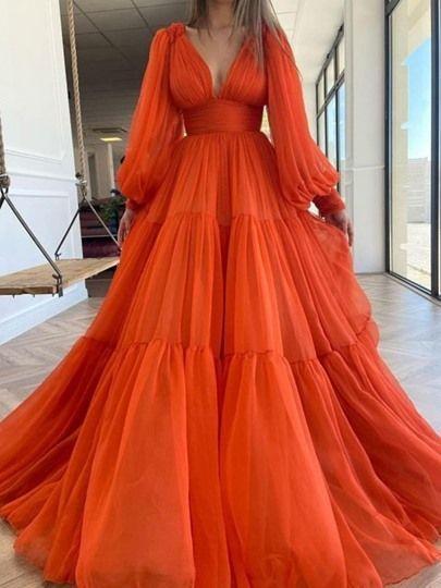 Orange v neck chiffon long prom dress orange evening dress M6584