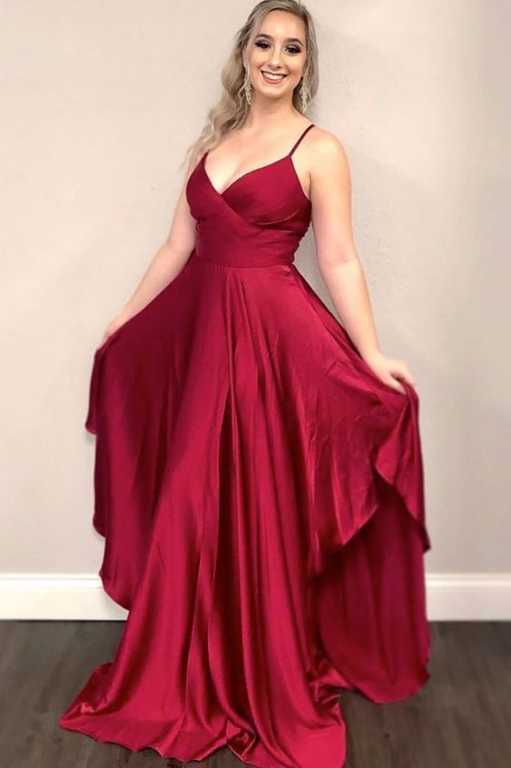 Simple burgundy satin long evening dress long bridesmaid dress M6586